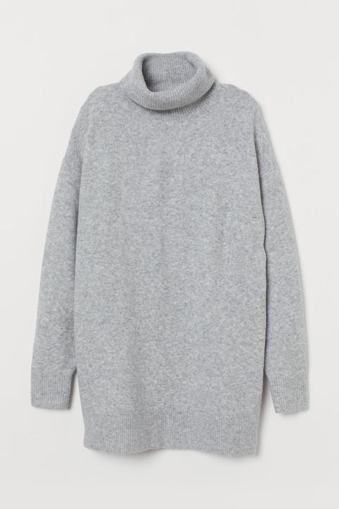 Jersey Oversize De Cuello Alto - Gris