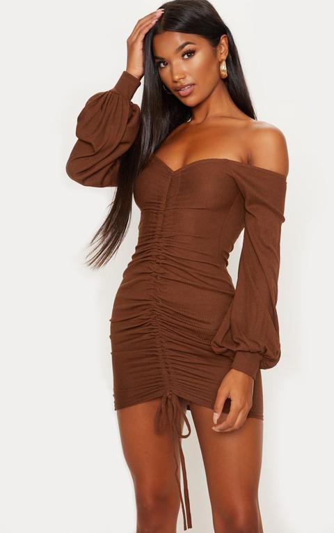 Chocolate Brown Ribbed Bardot Balloon Sleeve Ruched Bodycon Dress
