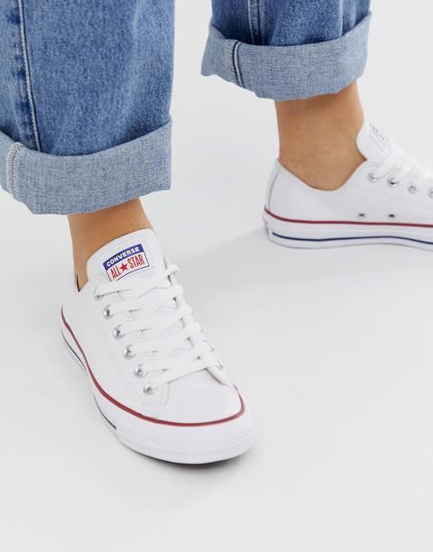 Converse - Chuck Taylor Ox - Weiße Leder-sneaker - Weiß from ASOS on 21 Buttons