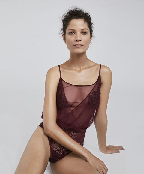 Body Essential Lace Xmas Color: Rojo Oscuro Talla: S Material: Poliester,poliamida,elastano,algodón,poliamida,elastano,