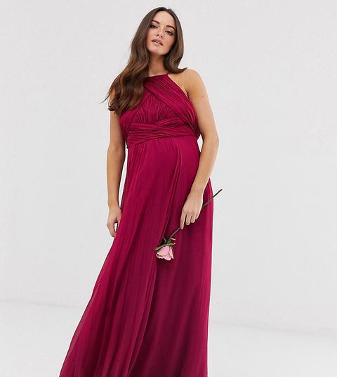 Vestido Largo Estilo Pichi Con Corpiño Fruncido Bridesmaid De Asos Design Maternity