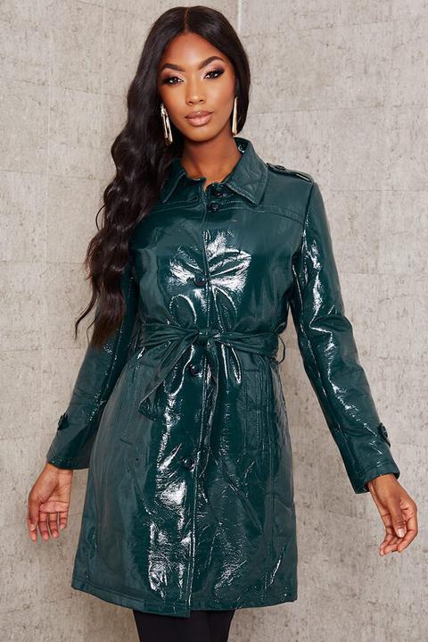 Emerald Green Vinyl Trench Coat