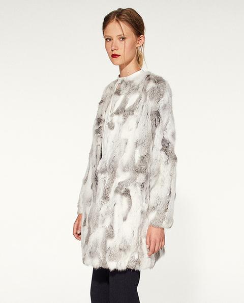 Sfera - Abrigo De Mujer De Pelo Con Cuello Caja