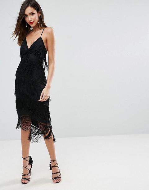 Vestido Midi Ajustado De Tiras Con Malla Y Flecos De Asos Design-negro