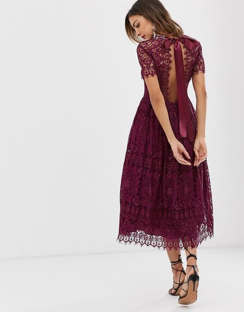 Vestido Midi De Encaje Con Lazo Y Espalda Abierta De Asos Design-violeta