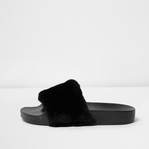 Black Fluffy Sliders from River Island
