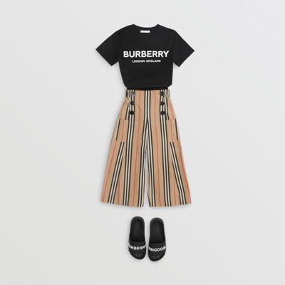 Logo Print Cotton T-shirt In Black | Burberry