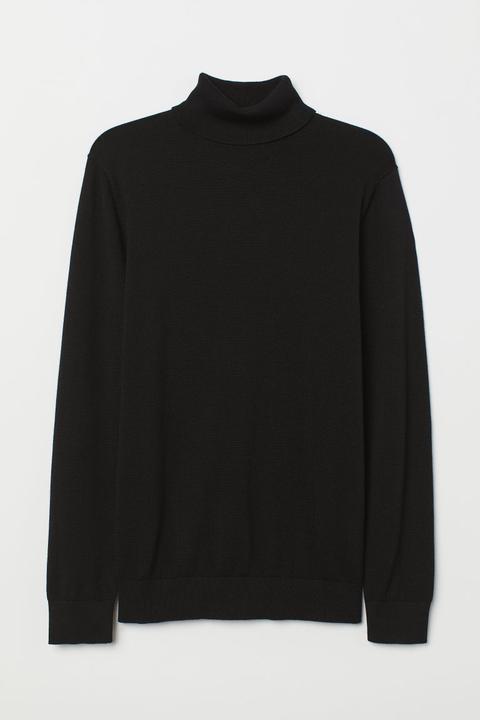 Fine-knit Polo-neck Jumper - Black