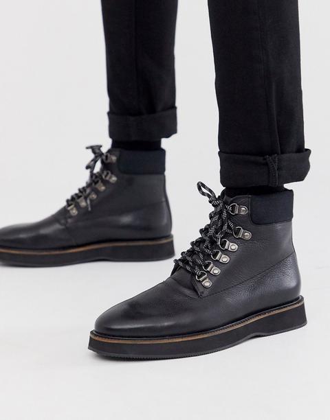 Walk London Board Walk Hiker Boots In Black Leather