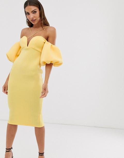 top fashion best prices buy online Asos Design - Robe Mi-longue Bardot À Bretelles Et Manches Ballon from ASOS  on 21 Buttons