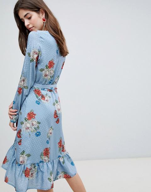 Gestuz Natacha Floral Print Wrap Dress-blue