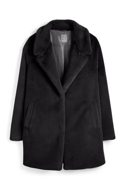 Abrigo Negro De Pelo Sintético