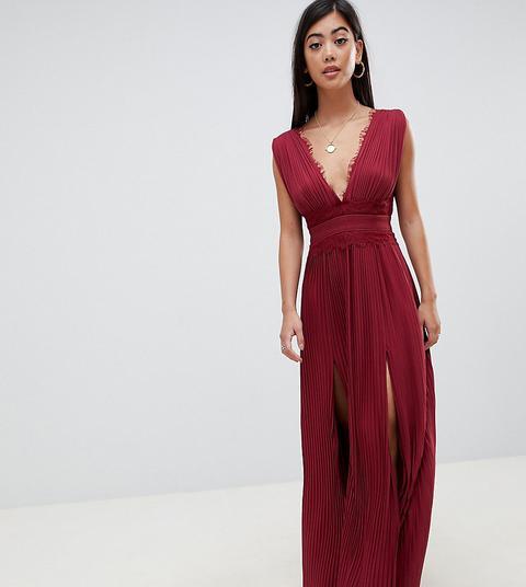 Vestido Largo Y Plisado Con Aplicación De Encaje De Asos Design Petite-rojo
