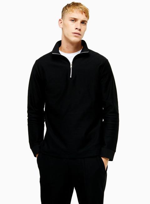Mens Black Twill 1/4 Zip Sweatshirt, Black