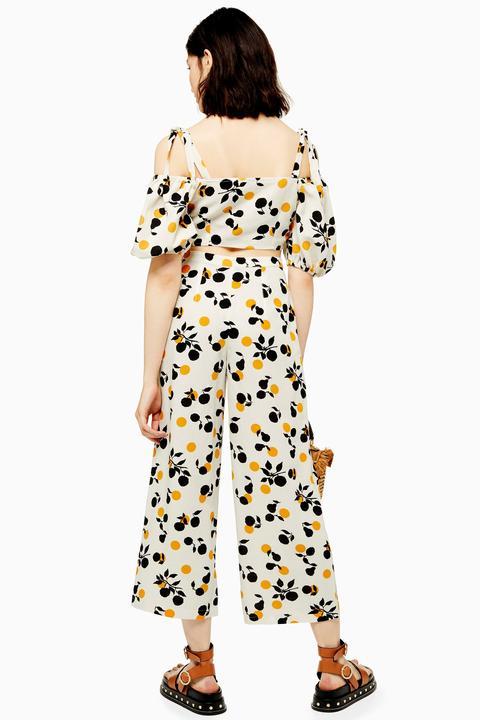 Womens Fruit Print Crop Wide Leg Trousers - Multi, Multi