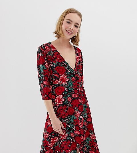 Vestido Cruzado En Estampado Floral Con Botones En Rojo De Monki