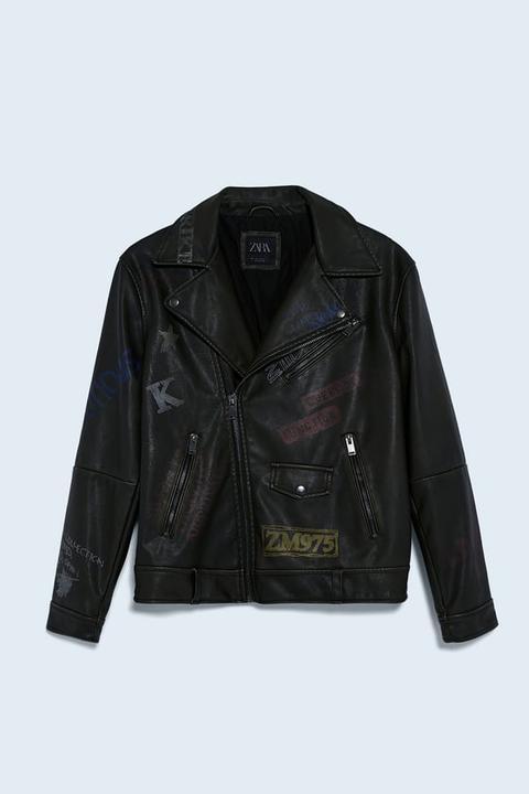 Cazadora Biker Efecto Piel Estampado Graffiti de Zara en 21 Buttons
