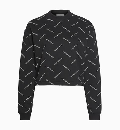 Sudadera Cropped Con Logo En Toda La Prenda de Calvin Klein en 21 Buttons