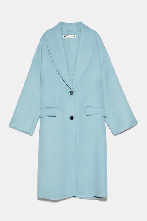 Abrigo Oversize Con Lana de Zara en 21 Buttons