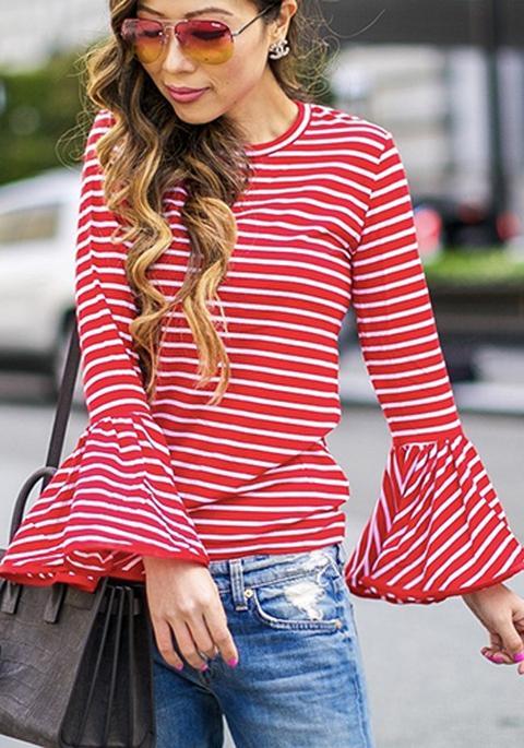 Maglietta A Righe A Collo Rotondo Manica Lunga Bianco Rosso