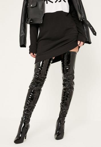 Black Patent Stiletto Over The Knee