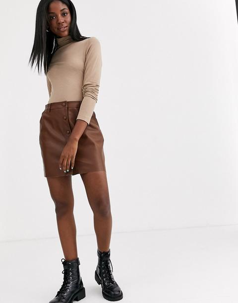 Falda De Cuero Sintético Con Botones En Color Tostado De Pimkie-marrón