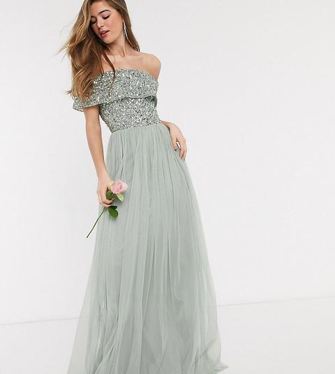 Vestido Largo De Dama De Honor Verde Salvia Con Escote Bardot Y Lentejuelas Delicadas En El Mismo Tono De Maya Tall