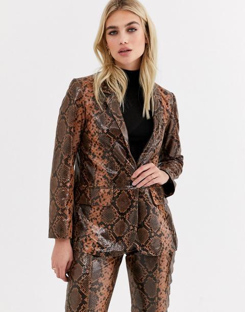 Topshop Leather Blazer In Snake Print-brown