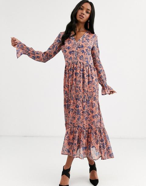 Vestido Largo Con Detalle De Frunces Y Estampado Floral De Y.a.s de ASOS en 21 Buttons