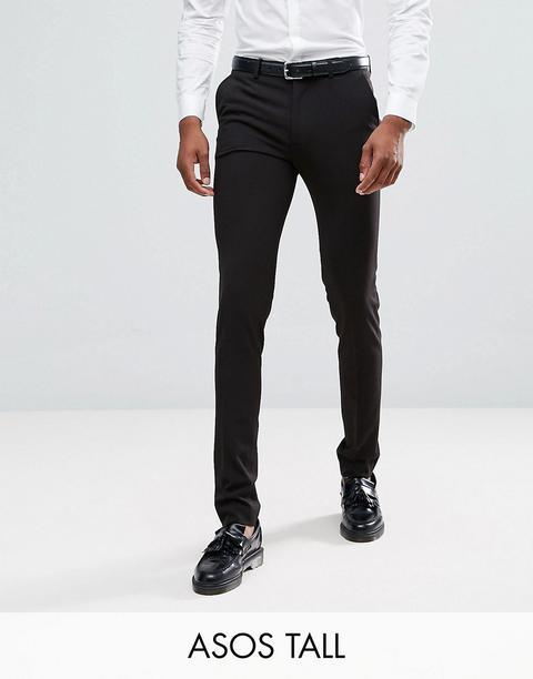 Asos Design Tall - Pantaloni Super Skinny Eleganti Neri - Nero