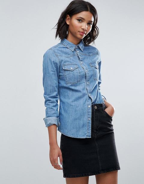 Asos Design - Chemise Western Ajustée En Jean - Bleu Délavé Moyen