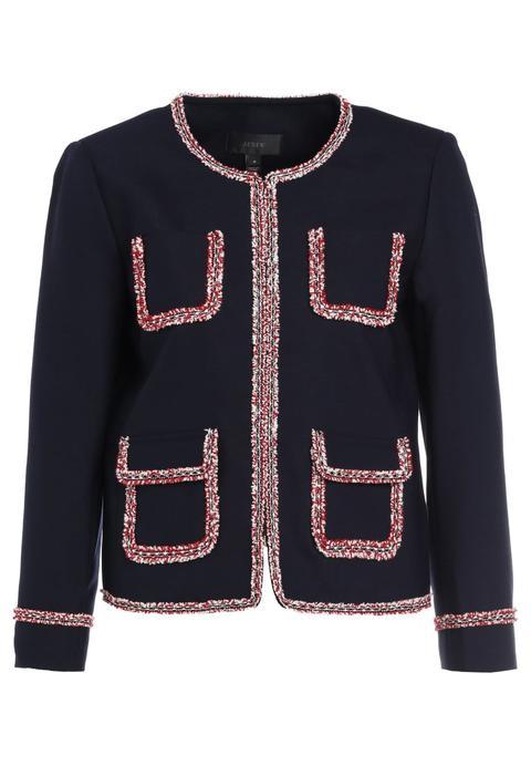 sale retailer c8a22 757b3 J.crew Lady Jacket With Tweed Trim Giacca Leggera Navy from Zalando on 21  Buttons
