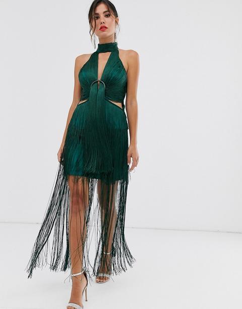 Vestido Midi De Cuello Alto Con Flecos Y Detalle De Anilla De Asos Design-verde de ASOS en 21 Buttons