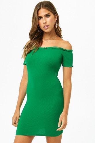 Forever 21 Mesh-trim Off-the-shoulder Dress , Green
