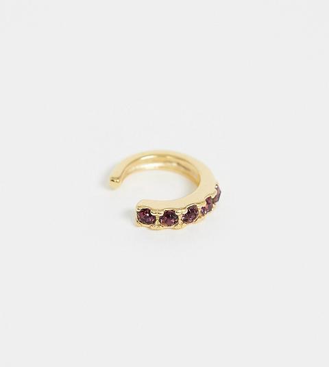 Asos Design - Bijou D'oreille En Argent Massif Plaqué Or Avec Pierres En Cristal Violettes-doré
