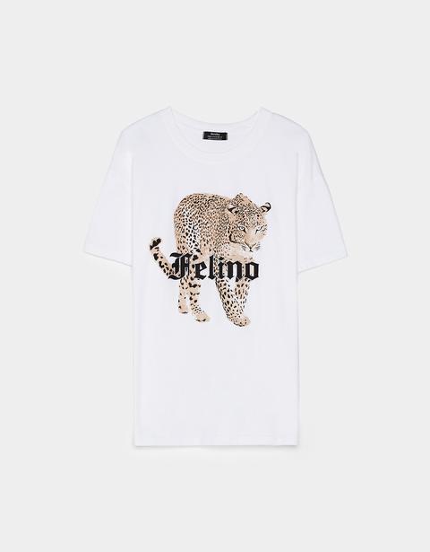 Camiseta Con Estampado Felino
