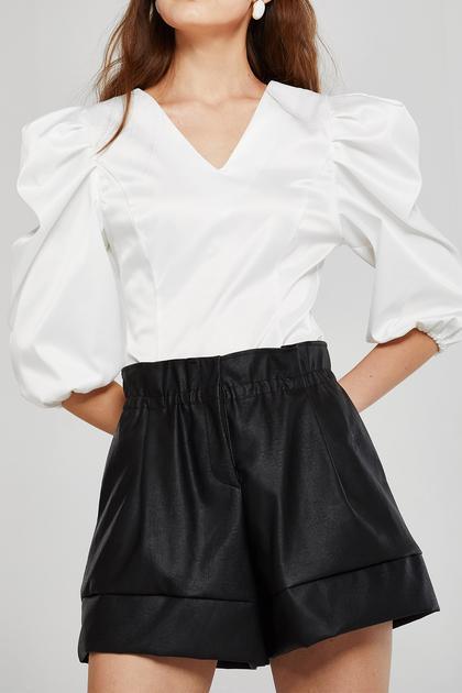 Iris Paperbag Waist Pleather Shorts