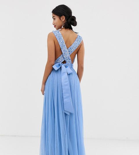 Vestido Largo Con Corpiño De Lentejuelas Delicadas Y Detalle De Lazo Con Espalda Cruzada Color Jacinto De Maya Petite-azul