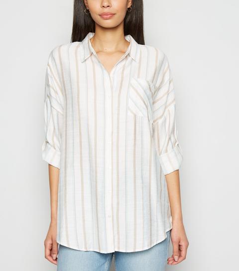 Apricot Stone Stripe Linen Look Shirt New Look