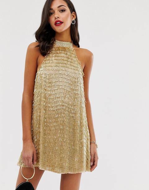 Asos Design - Vestitino Accollato Con Nappe Con Decorazioni Oro - Oro