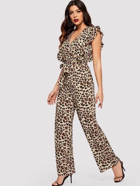 Ruffle Hem Leopard Print Belted Jumpsuit