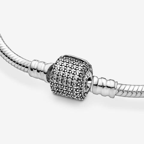 Bracciale Pandora Moments Con Maglia Snake E Chiusura Con Pavé Scintillante