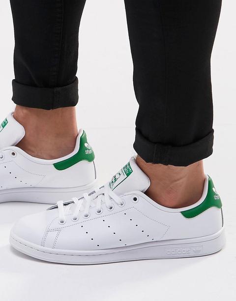 Zapatillas De Deporte Blancas Y Verdes De Cuero Stan Smith De Adidas Originals de ASOS en 21 Buttons