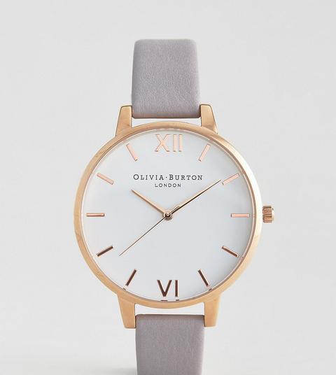 Reloj De Cuero Con Esfera Grande Blanca En Gris Lila De Olivia Burton de ASOS en 21 Buttons