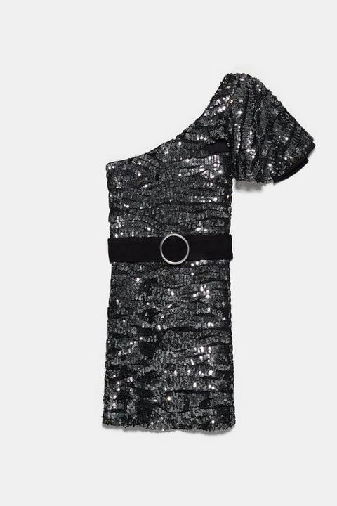 Vestido Asimétrico Lentejuelas de Zara en 21 Buttons