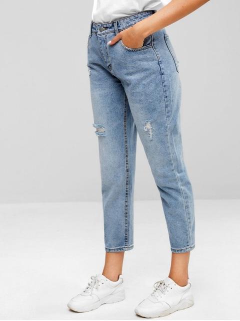 Zaful Jeans Desgastados Con Bolsillos Jeans Blue de Zaful en 21 Buttons