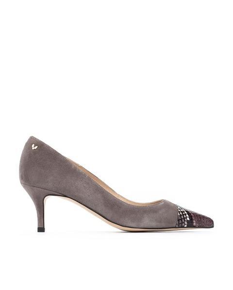 Martinelli - Zapatos De Salón De Mujer De Piel Con Puntera De Print De Serpiente En Gris
