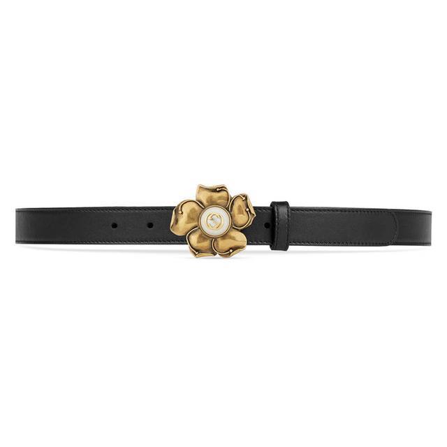 moda firmata 483d5 60de4 Cintura In Pelle Con Fiore In Metallo from Gucci on 21 Buttons