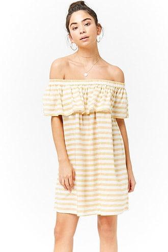 Forever 21 Striped Flounce Dress Mustard/cream