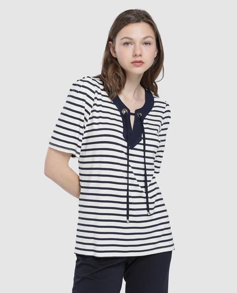 Cappuccini - Camiseta De Mujer Con Rayas Y Eyelets En Escote de El Corte Ingles en 21 Buttons